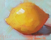 ACEO Original Oil Painting, Lemon on Aqua, Kitchen Art, Food Art, Small Format Art, Mini Painting, Lemon Painting