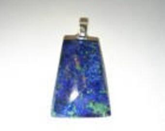 Lapis Lazuli and Malachite Pendant on Leather Cord Necklace