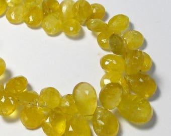 SALE 20% Off Natural Yellow Aquamarine Heliodor Briolette Beads 10mm 12mm,  Golden Beryl Briolette Gemstone  Beads
