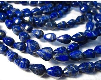 20% OFF SALE Natural Lapis Beads Pyrite Pear Teardrop 8mm x 12mm, Ultra Fine Rich Lapis,  Afghanistan , Lapis pair beads