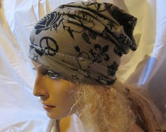 Tattoo Print Jersey Slouchy Hat, Slouchy Beanie, Unisex Slouchy Hat, Unisex Slouchy Beanie, Slouch Hat, Slouch Beanie, Lightweight Slouch