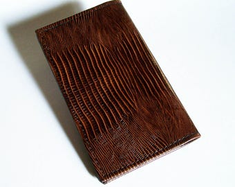 Brown Leather Checkbook Cover - Brown Lizard Grain Leather