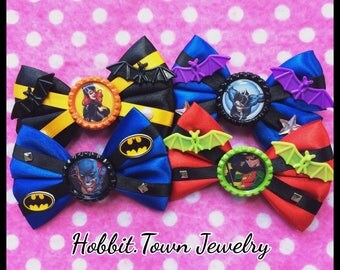 Batman Robin Nightwing Batgirl Comic Book Hair Bows