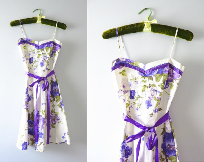 Vintage Cotton Sundress | 90s White & Purple Flower Print Sundress XS