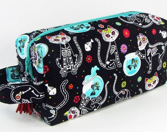 skull cats large toiletry bag boxy pouch padded makeup case zippered travel