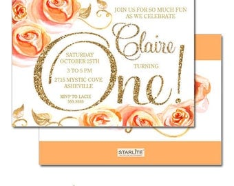 Fall Themed 1st Birthday Invitation Girl, Fall Themed First Birthday Invitation, Peach Orange Gold Glitter Floral Roses, Printable, Printed