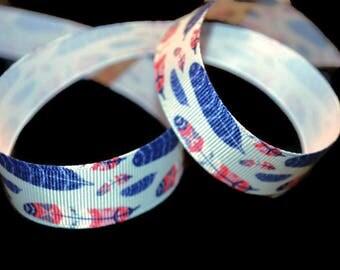 Feather Ribbon, Lanyard Ribbon, Tribal Ribbon, Multi Color Ribbon, Rustic Ribbon, Southwestern Ribbon, Boho Ribbon, Nature Ribbon