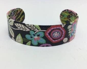 Flower Bracelet Colorful Flower Cuff Decoupage Bracelet Decoupage Cuff Bracelet
