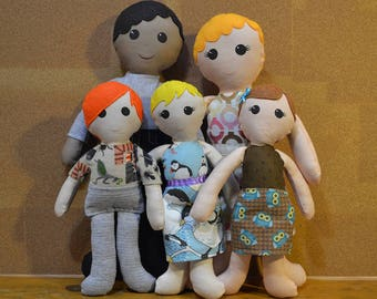 Doll Family: 2 Adults + Kids cloth dolls, custom personalized keepsake dolls, family portrait rag dolls, christmas gift, mother's day gift