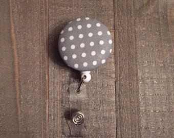 Grey + White Polka Dot Badge Reel - Dots - ID Badge Holder - Name Badge - Nurse Badge - RN Badge