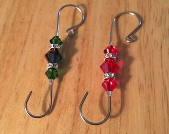 Handmade Swarovski Beaded 18g wire Ornament Hooks, Beaded Ornament Hangers, Swarovski Ornament Hooks, Set of 10 Hooks