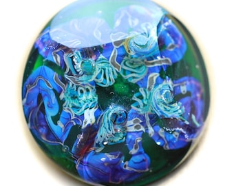 Button ~ Transparent Green, Paperweight, Faceted, Lampworked by KPHoppe ~ Medium