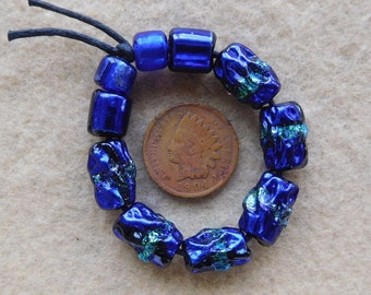 10 Dichroic Assorted Beads in Bright Blue Colors handmade by DEE HOWL BEADS