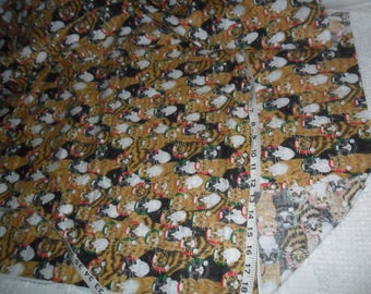 "Christmas CATS Cotton Fabric 1 yard x 44""w"