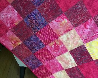 Fuchsia Red Handmade Quilt