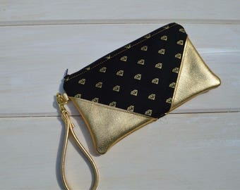 Gold Metallic leather essential clutch wristlet, black with gold diamonds, zipper closure