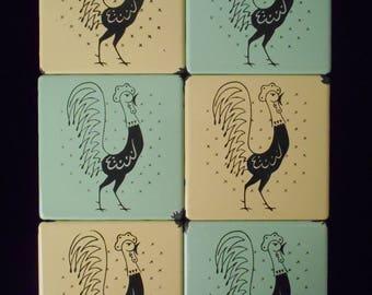 "vintage ""The Pot Rooster"" Porcelain Tile Trivet - Frigidaire RETRO - Lot of 6"