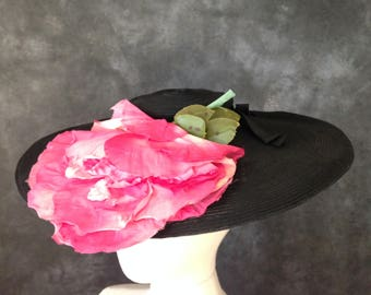 Vintage 1930's wide brim black hat