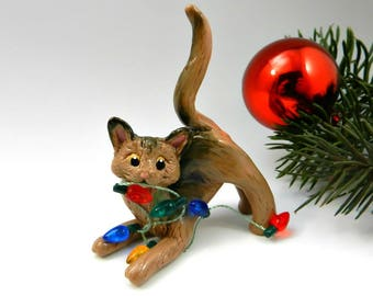 Abyssinian Cat Christmas Ornament Figurine Lights Porcelain