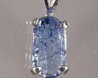 Tanzanite, Uncut Gemstone, Hand Set in Sterling Pendant with Sterling Chain  -  Fast Free Shipping with gift wrap