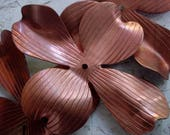 BOGO SALE 4pc Vintage 75mm 3 Inch Dogwood Flower Petal Large Cross Focal Jewelry Finding Copper Plated Steel Metal Craft Mixed Media FB1a