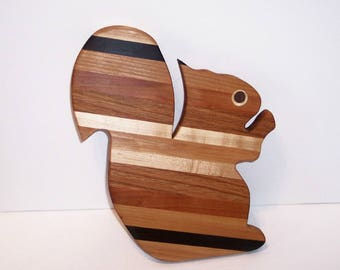 Squirrel Cutting Board Handcrafted from Mixed Hardwoods