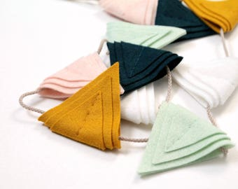 Bunting Banner Flags. Felt Nursery Garland. Art Deco Triangle Banner.