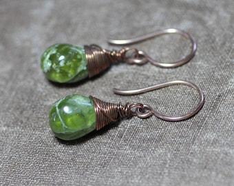 Vesuvianite Earrings Antiqued Copper Earrings Green Gemstone Wire Wrapped Earrings Rustic Jewelry