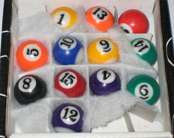 12 Mini Pool Balls for Crafting or Decorating