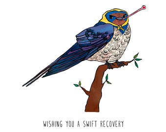 Wishing You A Swift Recovery Greeting Card - humorous, word-play, whimsical, get well