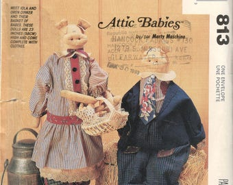 McCalls 6370 813 1990s Attic Babies Doll Pig Pattern 23 Inch Stuffed Animal and Clothes Sewing Pattern UNCUT