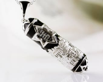 Jerusalem Mezuzah Necklace Judaica Jewelry Pendant Jerusalem w Star of David, Jewish Necklace, Black Enamel Jewelry Silver Gift for Him/Her
