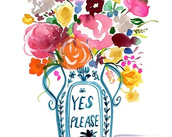 Yes Please Vase Archival Print