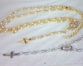 EXCLUSIVE LISTING for CLAUDIA - Yolanda Foster Inspired Rosary Necklace - Custom Made - Gold with Swarovski Hematite Crystals