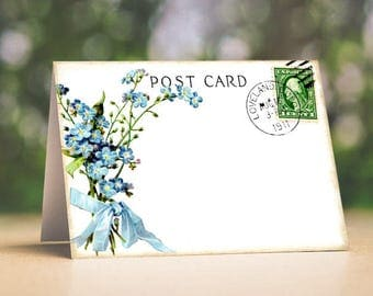 Wedding Place Cards Vintage Blue Forget Me Not Flower Postcard Tent Style Place Cards or Table Place Cards #97