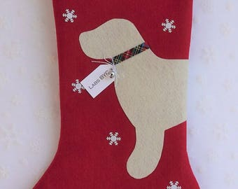 Yellow Lab Red Stocking - FREE Personalization!