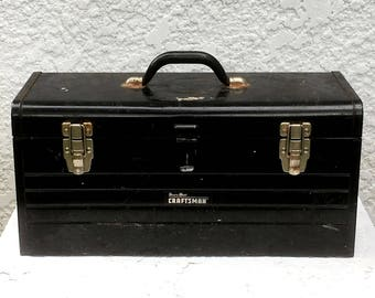 Vintage Heavy-Duty Sears Craftsman Black Tool Box, Red Removeable Tray