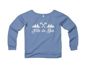 Sweatshirt  Col Large En Molleton Pour Femme • Fille de bois
