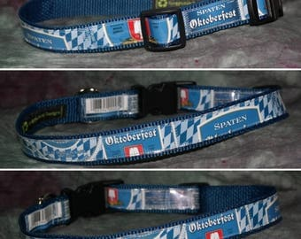 Adjustable Dog Collar from recycled Spaten Oktoberfest Ur-Marzen Beer Labels
