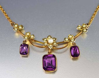 Antique Pearl Amethyst Edwardian Necklace | Gold Filled February Birthstone Drop Pendant Pearl Flower Dainty Romantic Bridal Necklace