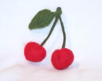 Felt Fruit - Needle Felted - Red Cherries - Life Size - Felt Cherry -  Needlefelt Fruit - Soft Sculpture - Home Decor - Play Food