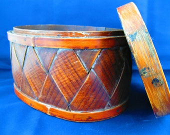 Woven wooden Oval Box