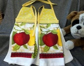 Hanging Printed Terry Tie Towels, Yellow Calico Print Top