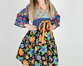 Girls Floral Dress - Toddler - Baby - Tween - Teen - Kimono Style - 3 Sleeve Lengths - Custom Available - sizes 12 mos to 14 years