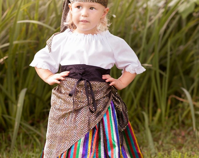 Gypsy Costume - Gypsy Skirt - Gypsy Birthday - Little Girls Birthday Outfit - Girls Peasant Top - Photo Prop - sizes 2t to 6 years