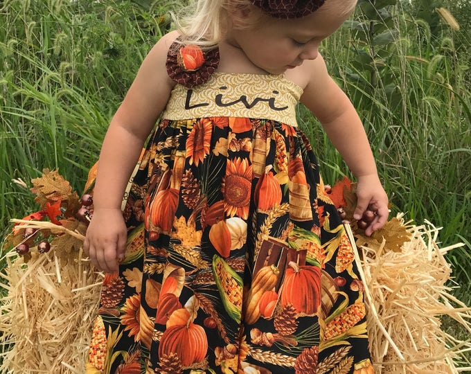 Thanksgiving Dress - 1st Thanksgiving - Toddler Fall Outfit - Personalized Dress - Little Pumpkin - Pumpkin Outfit Baby Girl - 6 mo-8 yrs