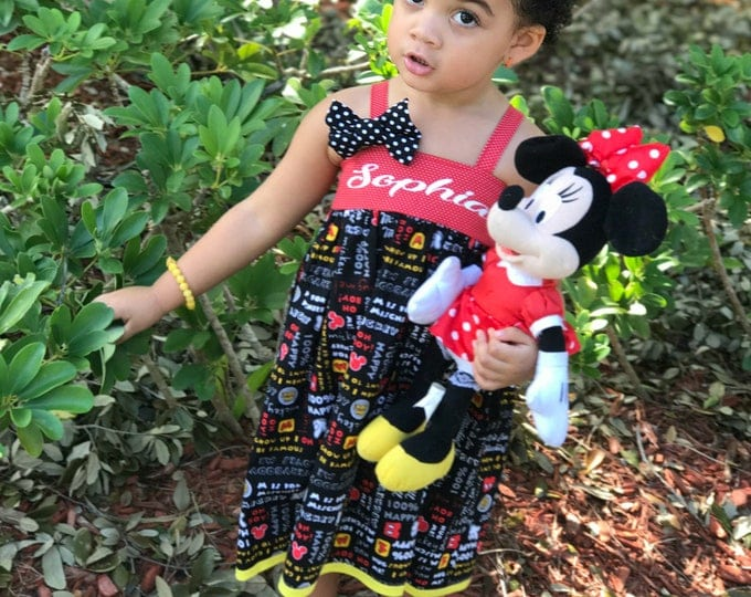 Mickey Mouse Dress - Disney Birthday - Minnie Mouse - Toddler Girl Clothes - Little Girl Dress - Birthday Dress  - 6 mos to 8 yrs