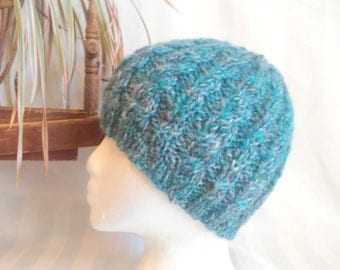 Handspun Cable Beanie. Turquoise Aqua White Silver Gray Red Wool Hat. Soft Hand Knit Hat. Multi Color Beanie. Beanies for Her. Gifts for Her