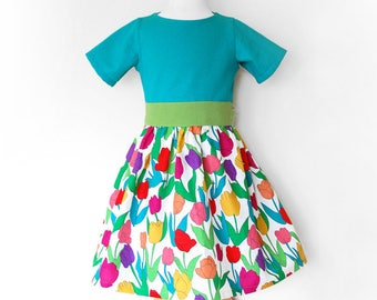TULIPS GARDEN girl handmade linen party dress with short sleeves size 5 years, girls clothing, birthday party tulips dress