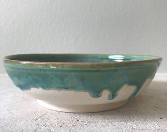 Drippy green & white porcelain stoneware bowl